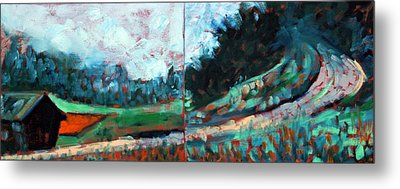 Metal Print featuring the painting Old Country Road by Walter Fahmy