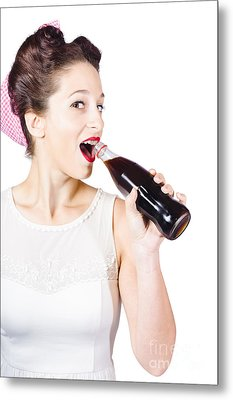Old-fashion Pop Art Girl Drinking From Soda Bottle Metal Print by Jorgo Photography - Wall Art Gallery