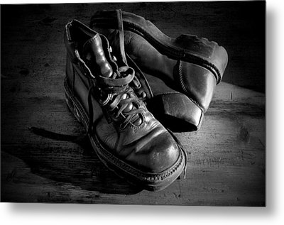 Old Leather Shoes Metal Print
