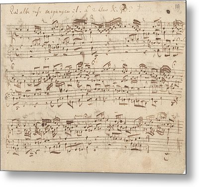 Old Music Notes - Bach Music Sheet Metal Print