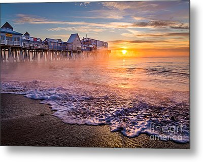 Old Orchard Beach Sea Smoke Metal Print
