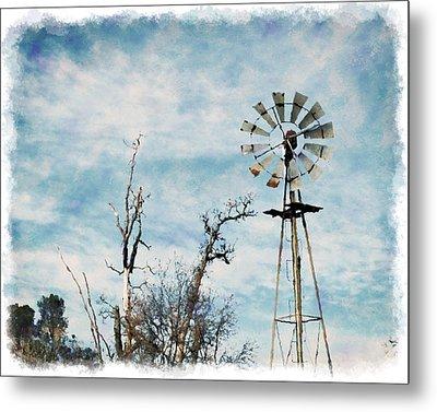 Old West Wind Wheel Metal Print