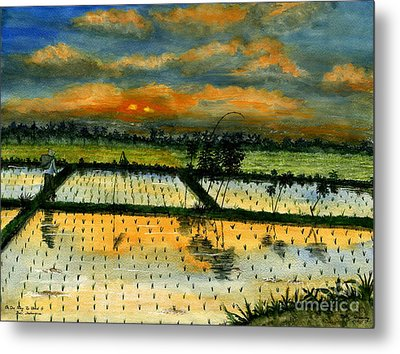 Metal Print featuring the painting On The Way To Ubud Iv Bali Indonesia by Melly Terpening