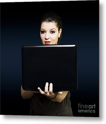 Online Female Business Woman Working On Laptop Metal Print