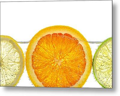Orange Lemon And Lime Slices In Water Metal Print by Elena Elisseeva