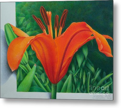 Metal Print featuring the painting Orange Lily by Pamela Clements