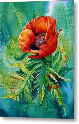 Orange Oriental Poppy Metal Print by Karen Mattson
