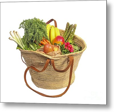 Organic Fruit And Vegetables In Shopping Bag Metal Print by Patricia Hofmeester