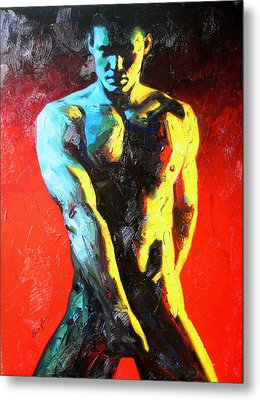 Original Abstract Oil Painting Art-male Nude By Kinfe Metal Print by Hongtao     Huang