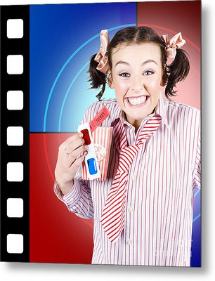 Overjoyed Nerd Woman At 3d Movie Premier Metal Print by Jorgo Photography - Wall Art Gallery