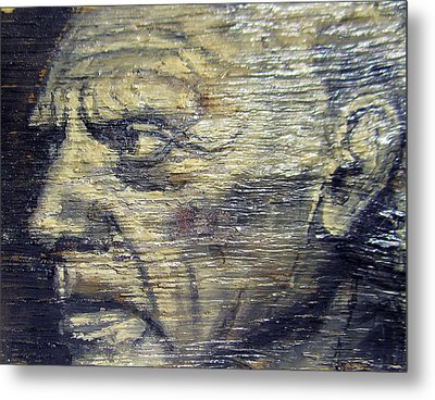 Pablo Picasso Face Portrait - Painting On The Wood Metal Print by Nenad Cerovic