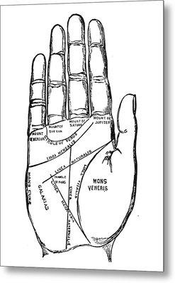 Palmistry Chart, 1885 Metal Print