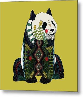 Panda Ochre Metal Print by Sharon Turner