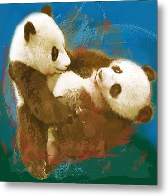 Panda - Stylised Drawing Art Poster Metal Print