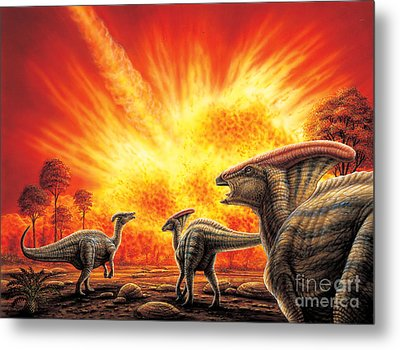 Parasaurolophus Meteor Strike Metal Print