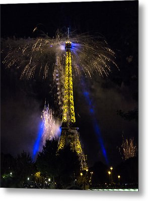 Paris - July Famous Fireworks Near Eiffel Tower During Celeb Metal Print by Radoslav Nedelchev