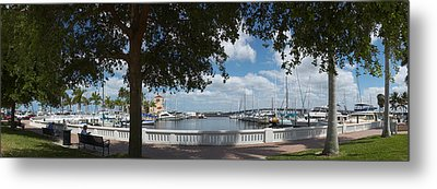 Park At The Riverside, Twin Dolphin Metal Print by Panoramic Images