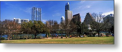 Park With Skyscrapers Metal Print by Panoramic Images