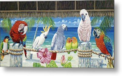 Parrots In Paradise Metal Print by Danielle  Perry