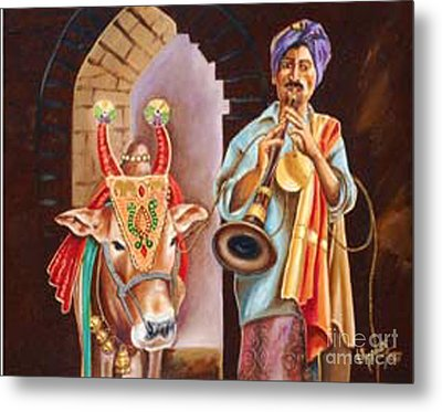 Metal Print featuring the painting Partners In Alms by Ragunath Venkatraman