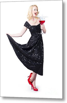 Party Woman In A Black Sequin Dress Over White Metal Print by Jorgo Photography - Wall Art Gallery