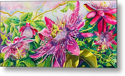 Passionflower Party Metal Print by Janis Grau