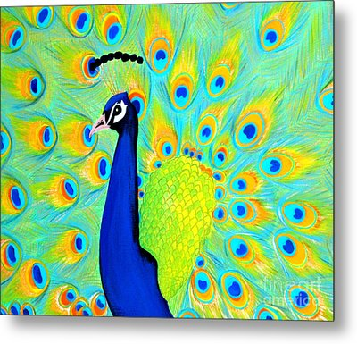 Metal Print featuring the painting Peacock. Inspirations Collection. by Oksana Semenchenko