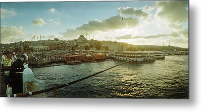 People Fishing In The Bosphorus Strait Metal Print by Panoramic Images