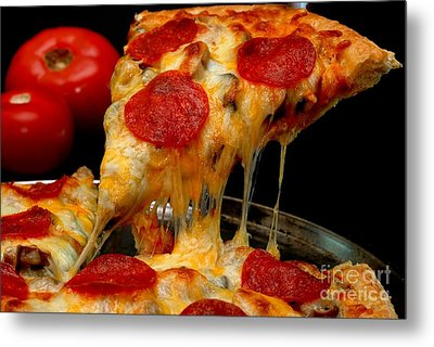 Pepperoni Pizza Slice Metal Print by Danny Hooks