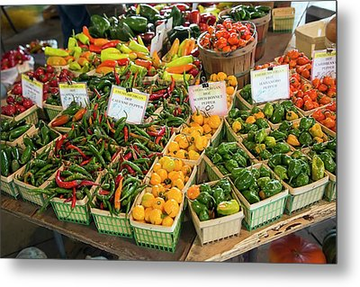 Peppers On A Market Stall Metal Print by Jim West