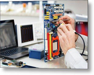 Person Repairing Electronic Circuit Board Metal Print