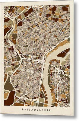 Philadelphia Pennsylvania Street Map Metal Print by Michael Tompsett