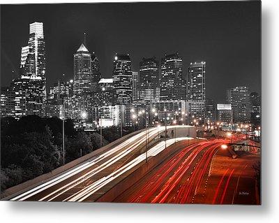 Philadelphia Skyline At Night Black And White Bw  Metal Print by Jon Holiday