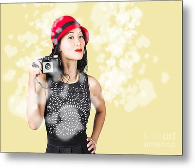 Photographer Taking Photos With Retro Film Camera Metal Print by Jorgo Photography - Wall Art Gallery