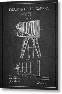 Photographic Camera Patent Drawing From 1885 Metal Print