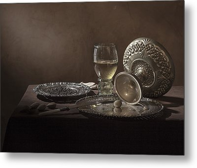 Metal Print featuring the photograph Pieter Claesz - Onbijt With Roemer And Tazza by Levin Rodriguez