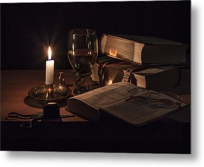 Metal Print featuring the photograph Vanitas With Lit Candle-roemer And Books by Levin Rodriguez
