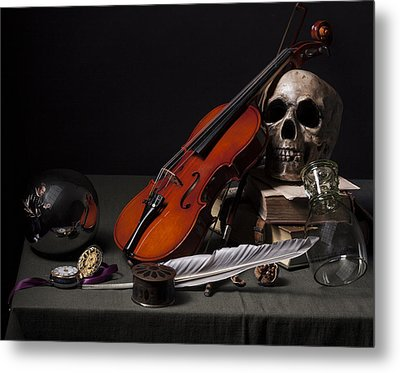 Metal Print featuring the photograph Pieter Claesz - Vanitas Still Life With Violin And Glass Ball - 1628 by Levin Rodriguez