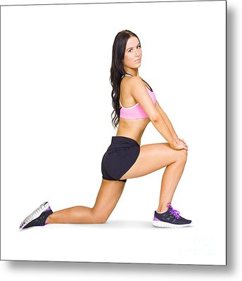 Pilates And Yoga Instructor Warming Up  Metal Print
