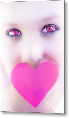 Pink Eyed Woman And Love Heart Metal Print