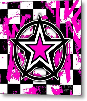 Pink Star Checkerboard Metal Print