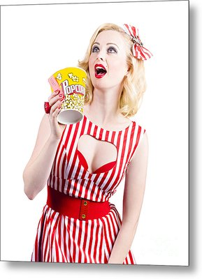 Pinup Cinema Girl At Box Office Movie Premiere Metal Print by Jorgo Photography - Wall Art Gallery