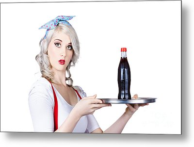 Pinup Girl Waiter Holding Silver Soda Tray Metal Print