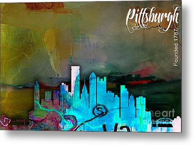 Pittsburgh Skyline Watercolor Metal Print by Marvin Blaine