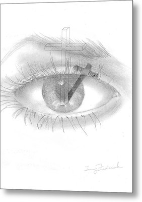 Metal Print featuring the drawing Plank In Eye by Terry Frederick