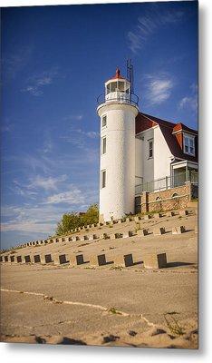 Point Betsie Lighthouse Michigan Metal Print by Adam Romanowicz