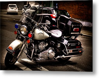 Police Harley Metal Print by David Patterson