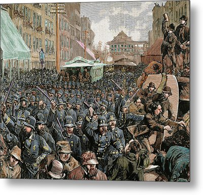 Police Officers Dispersing The Strike Metal Print