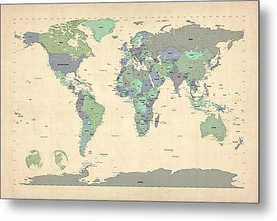 Political Map Of The World Map Metal Print