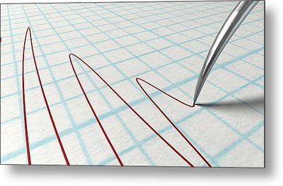 Polygraph Needle And Drawing Metal Print by Allan Swart